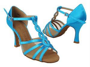 SERA1692 120 Blue Satin_Flesh Mesh with Women's 3 inch Flare Heel in the photo