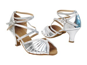 "SERA3830 61 Silver PU_10 Silver Stardust_Double BackStraps with 2.5"" low heel in the photo"