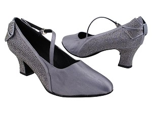 "SERA5512 180 Grey Satin_S9138 Strap_Inside Bukles with 2.2"" Thick Cuban Heel (318) in the photo"
