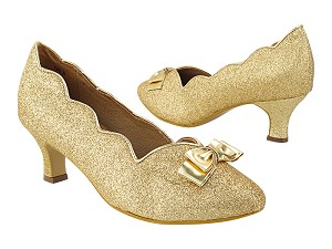 "SERA5515 184 Light Gold Stardust_Gold PU Trim_Bow with 2"" Slim  Heel (MTXZ) in the photo"