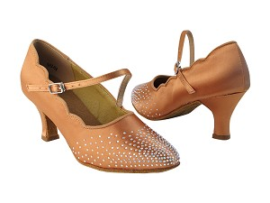 "SERA5518 153 Tan Satin_S9138 Arch Strap_Without Back Lace with 2.5"" low heel in the photo"