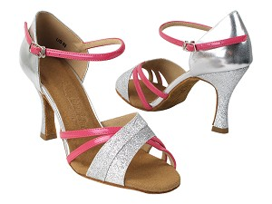 "SERA6030 10 Silver Stardust_H_61 Silver PU_B_224 Pearl Fuchsia Patent_S with 5059_3"" Flare Heel in the photo"