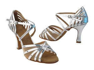 "SERA7032B Silver & Flesh Mesh with 3"" Heel in the photo"