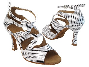 SERA7039 256 White Black Dots Satin with Women's 3 inch Flare Heel (Heel Code 5059) in the photo