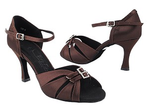 "SERARhinestone 1131 Dark Coffee Satin with  3"" Heel (5059) in the photo"