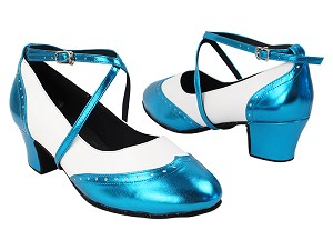 "Swing001C 135 Metallic Blue PU_F_B_S_218 White Leather_M with 1.6"" Medium Heel in the photo"