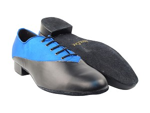 "2504 247 Gem Blue Satin_B_Black Leather_F with 1"" Standard Heel in the photo"