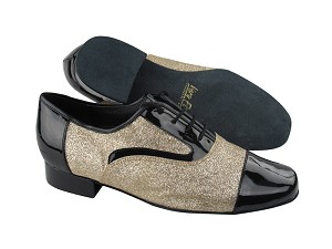 "916102 Black Patent & 125 Gold Stardust with 1"" Heel in the photo"