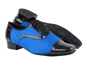"916102 Black Patent_247 Gem Blue Satin with 1"" Heel in the photo"