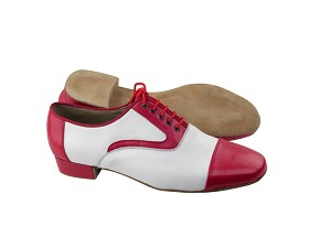 "C916102 BB10 Red Leather & White Leather with 1"" Heel in the photo"
