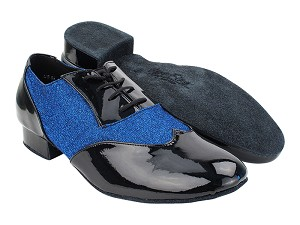 "CM100101 288 Black Patent_F_B_190 Glitter Dark Blue Satin_M with 1"" Standard Heel (068) in the photo"