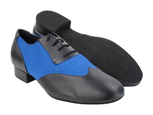 "CM100101 Black Leather_F_B_114 Dark Blue Satin_M with 1"" Standard Heel (068) in the photo"