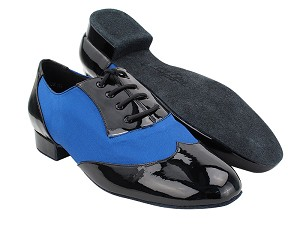 "CM100101 Black Patent_114 Dark Blue Satin with 1"" Standard Heel (068) in the photo"