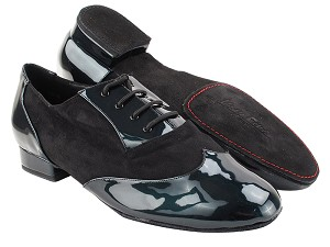 "CM100101DB Pearl Green Patent_Black Oxford Nubuck with Men 1"" Standard Heel (2002) in the photo"