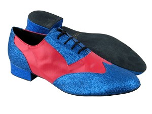 "M100101 234 Blue Stardust_211 Red Leather with 1"" Standard heel in the photo"