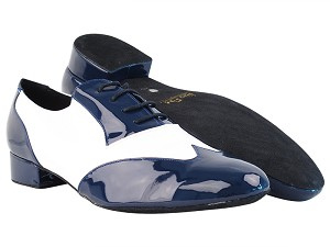 "M100101 297 Dark Blue Patent_F_B_18 White Leather_M with 1"" Standard Heel in the photo"