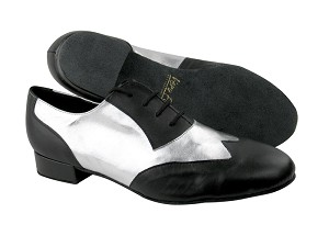 "M100101 Black Leather & #119 Silver Leather with 1"" Heel in the photo"
