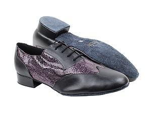 "M100101 Black Leather_F_B_252 Purple Snake_M with 1"" Heel in the photo"