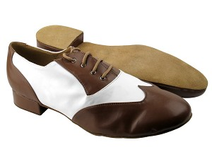 "M100101 Coffee Brown Leather & White Leather with 1"" Heel in the photo"