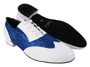 "M100101 White Leather_F_B_234 Blue Stardust_M with 1"" heel in the photo"