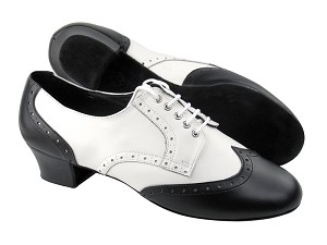 "PP301 Black Leather & White Leather L with 1.6"" Heel in the photo"