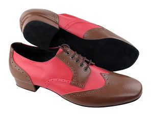 "PP301 Dark Tan Leather (L)  & Red Leather with 1"" Heel in the photo"