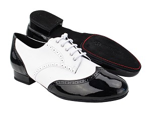 "PP301DB Black Patent_White Leather with 1"" Standard Heel (068) in the photo"