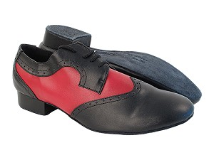 "PP302 Black_F_B_C_Red Leather with 1"" Standard Heel in the photo"