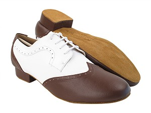 PP302 Dark Tan Leather_F_B_White Leather_M with Men's 1 inch Standard Heel in the photo