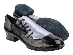 "S2519 180 Grey Satin_288 Black Patent with 1"" Standard Heel (068) in the photo"