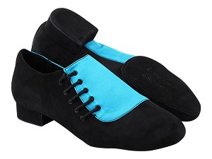 "S2519 307 Black Oxford Nubuck_120 Blue Satin with Men 1"" Standard Heel (2002) in the photo"