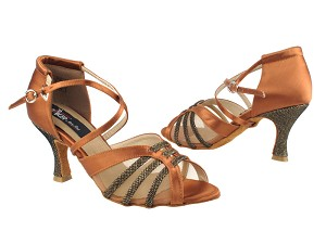 "CD3020 Dark Tan Satin with 3"" Flare heel in the photo"