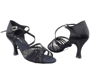 "CD3021 Black Satin with 3"" Flare heel in the photo"