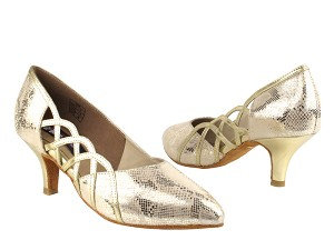 "CD5501 Gold Leather  with 2.5"" Slim heel in the photo"