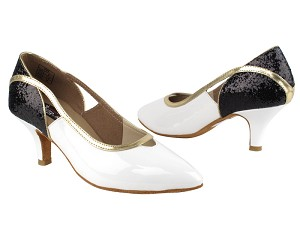 "CD5503 Black Sparkle & White Patent  with 2.5"" Slim heel in the photo"
