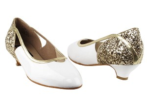 "CD5503 Gold Sparkle & White Patent with 1.1"" heel in the photo"