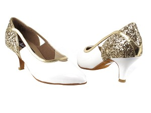 "CD5503 Gold Sparkle & White Patent  with 2.5"" Slim heel in the photo"