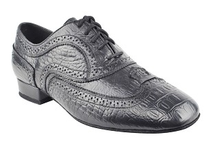 "CD9002A Black Croc Embossed Leather with 1"" standard heel"