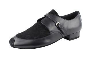 "CD9003A Black Leather & Nubuck with 1"" standard heel"