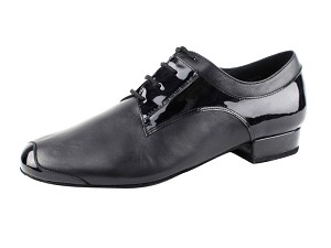 "CD9004A Black Leather & Patent with 1"" standard heel"