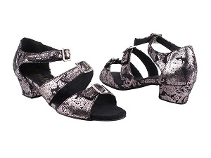 "1679LEDSS Black Flower with 1.5"" Medium Heel (2001)  in the photo"