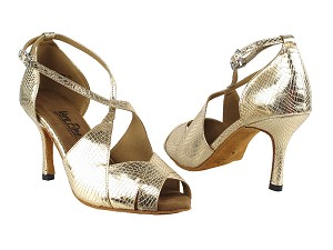 "3030LEDSS Gold Snake with 3"" slim heel (6646) in the photo"