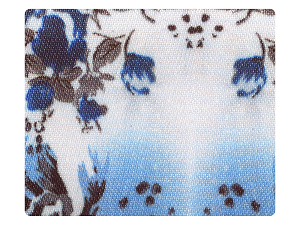 125 White_Blue Flower Satin Fabric Swatch