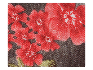 151 Yellow_Red Flower Satin Fabric Swatch