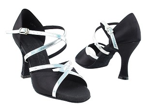"S92318 Black Satin & Silver Trim with 3"" Flare heel in the photo"