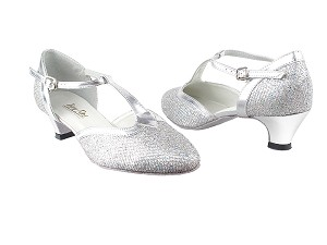 "9627 6 Silver Sparklenet_55 Silver  PU Trim_Cuban Heel with 1.3"" Cuban Heel in the photo"