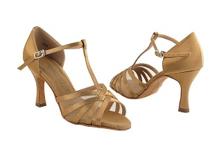 "SERA16612 Brown Satin with 3"" heel in the photo."