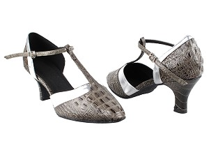 "SERA3551 Grey Croc & Silver Trim with 2.5"" low heel in the photo"