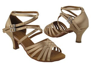 "SERA3690 Light Brown Satin with (2040) 2.5"" low heel in the photo"