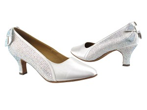 "SERA5512 White Satin with 2.5"" low heel in the photo"
